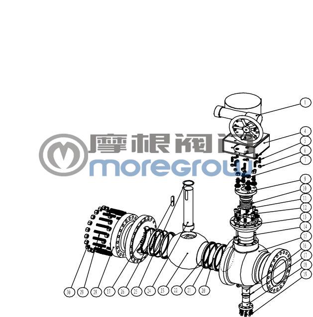 天然气球阀分解图.球阀CAD图纸展示